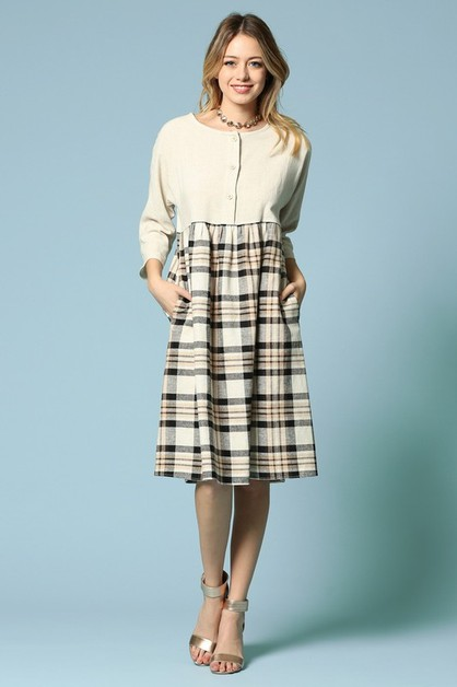 PLAID HEM DRESS WITH POCKET - orangeshine.com