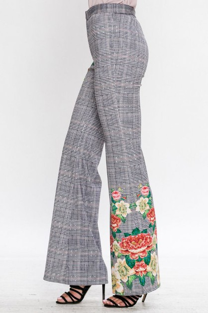 PLAID WIDE LEG PANT  - orangeshine.com