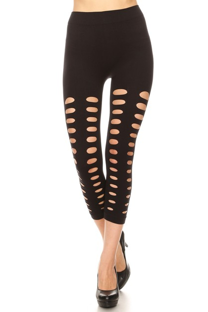 Cut Out Distressed Capri Leggings - orangeshine.com