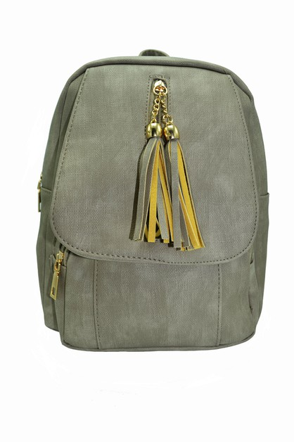 Tassel Design Leather Backpack - orangeshine.com