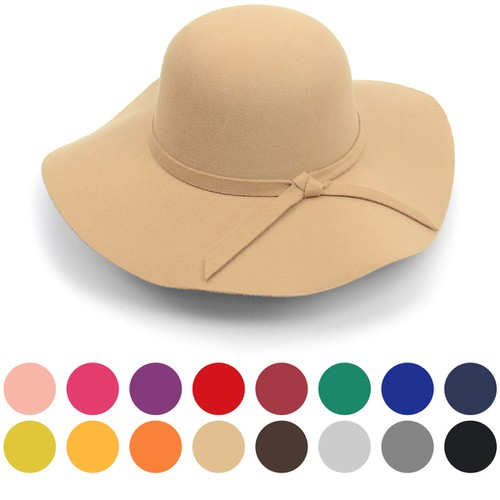 Women Polyester Felt Floppy Hat - orangeshine.com