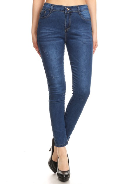 Washed Skinny Stretchy Denim jeans - orangeshine.com