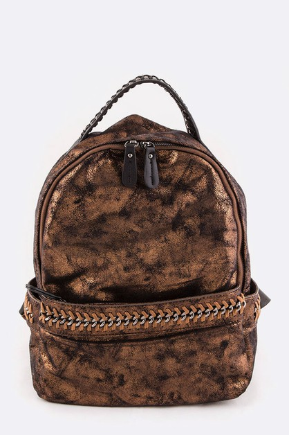 Laced Chain Vegan Leather Backpack - orangeshine.com