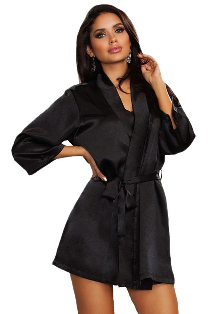 Three Quarter Sleeve Satin Robe - orangeshine.com