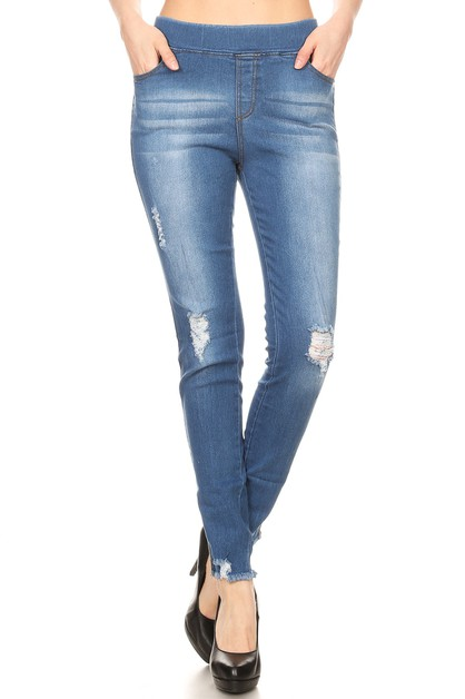 Skinny Denim Jeggings Jeans Distress - orangeshine.com