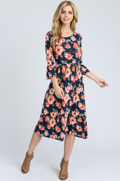 PREMIUM FLORAL PRINT MIDI DRESS - orangeshine.com