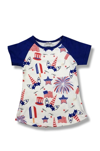 Fourth of July Unicorn Blue Raglan - orangeshine.com