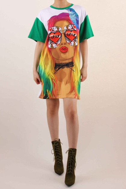 Colorful XOXO Print Dress - orangeshine.com