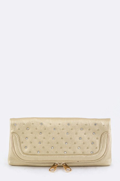 Mix Studs Fold Over Clutch - orangeshine.com