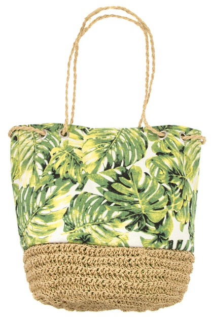 TROPICAL LEAF STRAW BOTTOM TOTE BAG - orangeshine.com