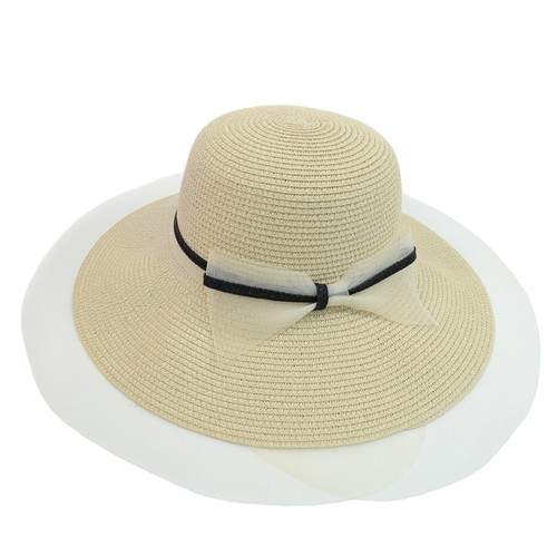 Women Wide Brim Ribbon Band Floppy - orangeshine.com