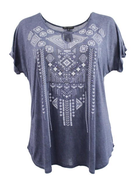 Blue Tee with Tribal Print Design - orangeshine.com