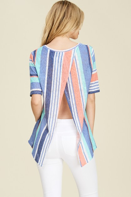 Split Back Short Sleeve Striped Top - orangeshine.com