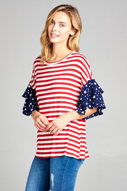 AMERICAN FLAG TIERED RUFFLE SL TOP - orangeshine.com