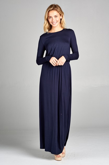 HIGH WAISTED LONG SLEEVE MAXI DRESS  - orangeshine.com
