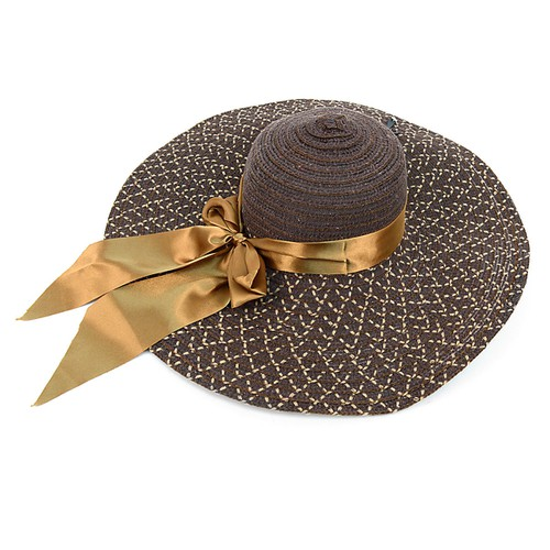 Women Wide Brim Brown Bow Floppy Hat - orangeshine.com