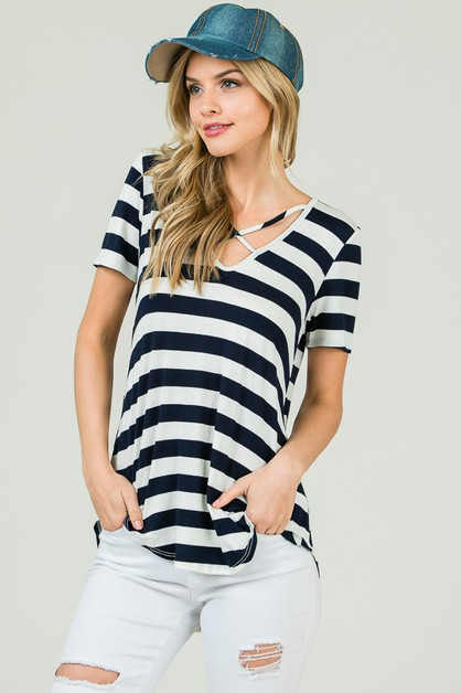 FRONT CRISSCROSS STRIPED TOP - orangeshine.com