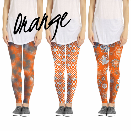 Orange Leggings  3 Patterns - orangeshine.com