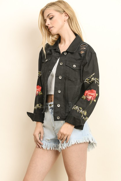 EMBROIDERED DENIM JACKET - orangeshine.com