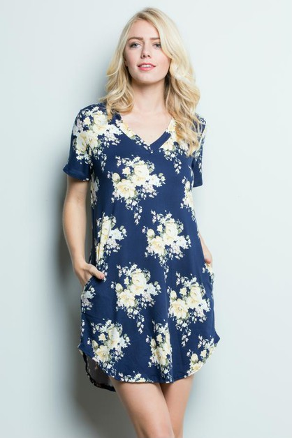 Floral Pocket Tunic Dress - orangeshine.com