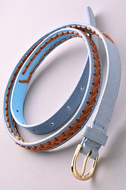 Faux Leather Braid Denim Belt - orangeshine.com