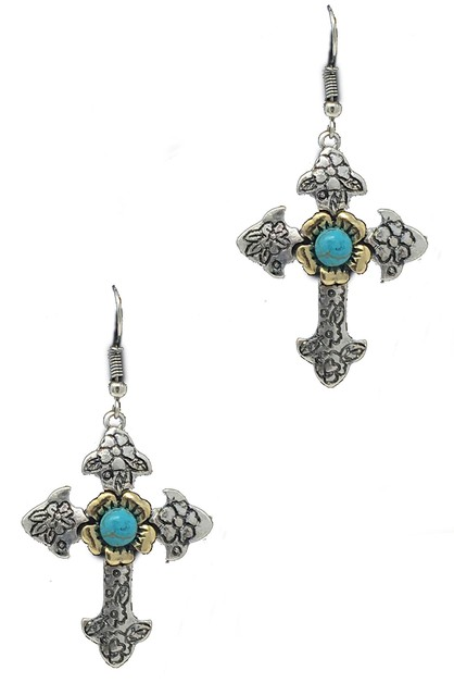 WESTERN FLOWER CARVED CROSS EARRING  - orangeshine.com