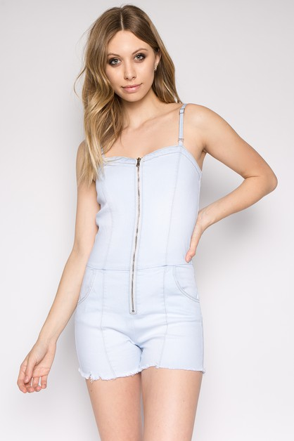 PLUS FRONT ZIP DENIM ROMPER - orangeshine.com