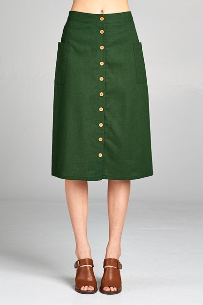 LINEN SOLID RETRO SKIRT - orangeshine.com