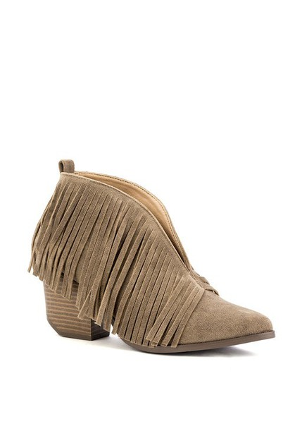 Tassels Fringe Stacked Heel Booties - orangeshine.com