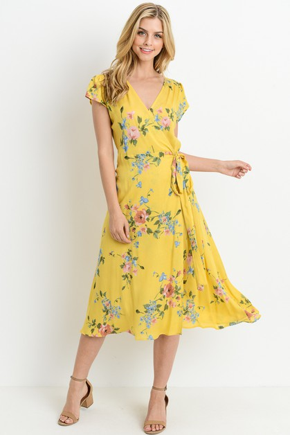 Floral Midi Wrap Dress - orangeshine.com