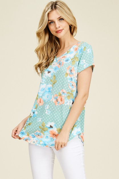 FLORAL PRINT BASIC V-NECK TOP - orangeshine.com