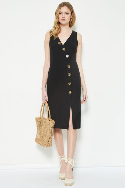 button linen dress  - orangeshine.com