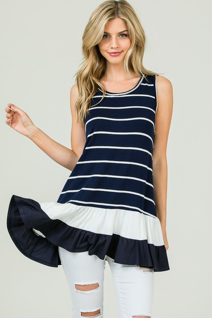 STRIPED TANK TOP RUFFLED HEM  - orangeshine.com