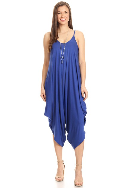 Royal Blue Sleeveless Jumpsuit - orangeshine.com