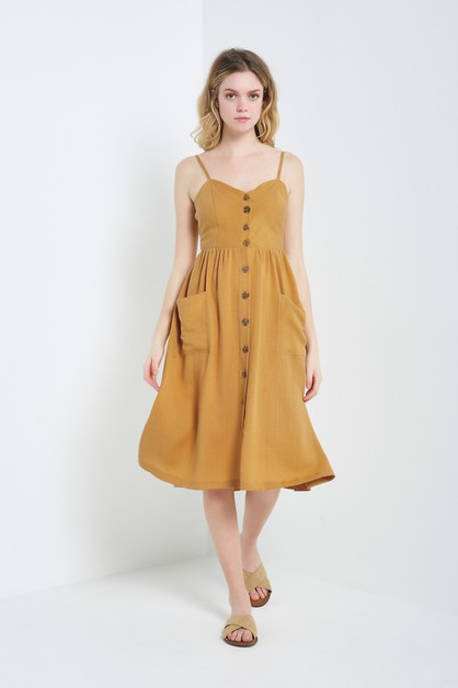 Button Down Linen Midi Dress - orangeshine.com