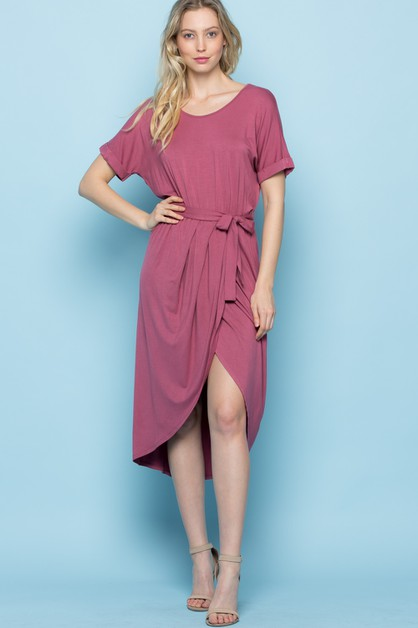 Dolman Split Hem Hi-low Wrap Dress - orangeshine.com