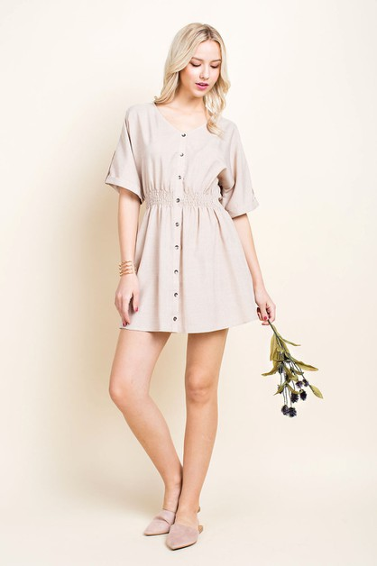 Linen Button Down Shirt Dress - orangeshine.com