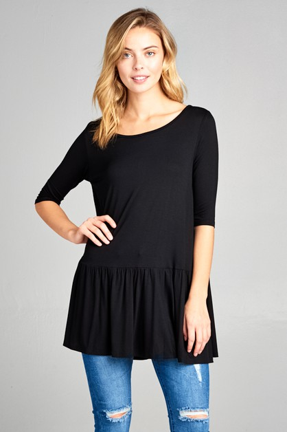 3/4 SLEEVE SOLID TUNIC BABY DOLL TOP - orangeshine.com