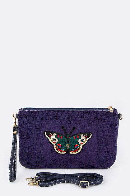 Butterfly Embroidery Corduroy Pouch - orangeshine.com