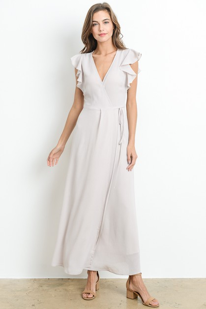 Ruffle Sleeve Wrap Maxi Dress - orangeshine.com