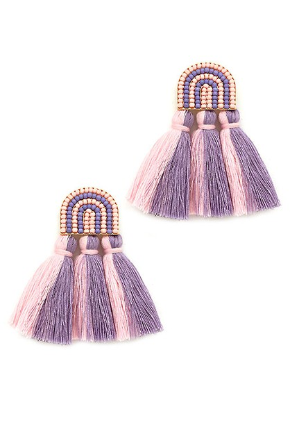 Tassel Post Earrings  - orangeshine.com