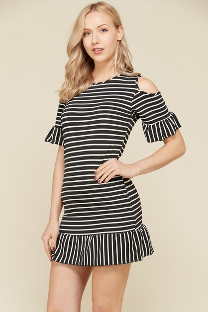 Striped Cut Off Mini Dresses - orangeshine.com