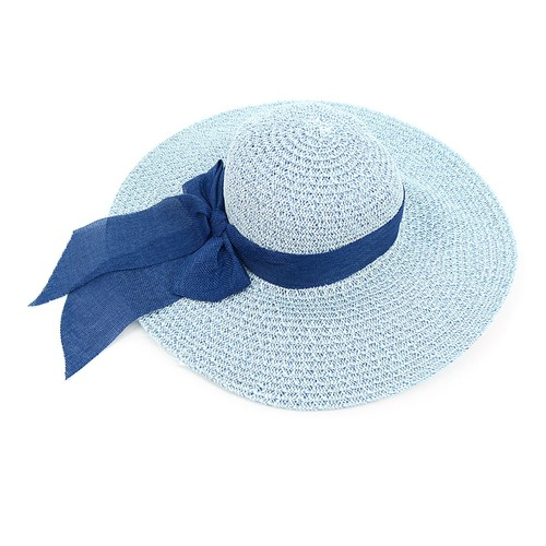 Women Wide Brim Sky Blue Floppy Hat - orangeshine.com