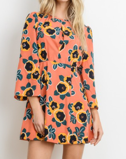 LONG FRILL SLEEVE FLORAL PRINT DRESS - orangeshine.com