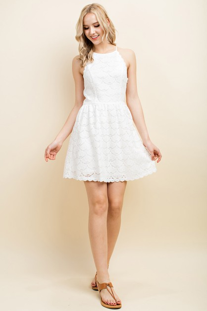 High Neck Lace Fit and Flare Dress - orangeshine.com