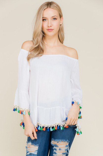 Fringe Trim Detail  Sleeve Top - orangeshine.com