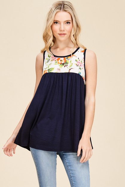 COLOR BLOCK SLEEVELESS FLORAL TOP - orangeshine.com