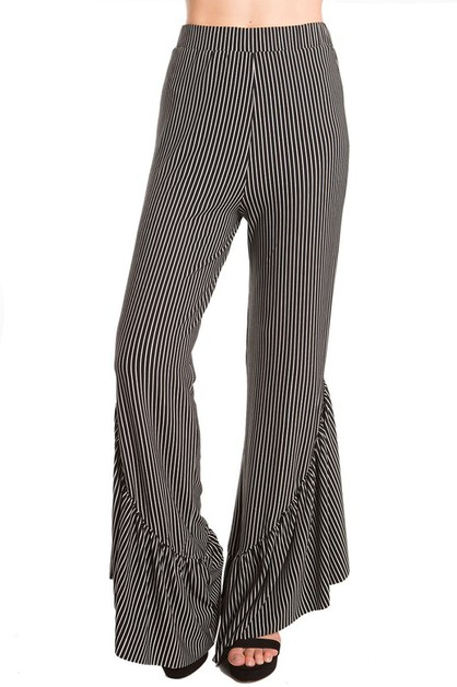Stripe Print High Waist Ruffle Pants - orangeshine.com