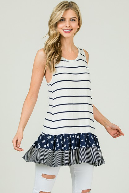 STRIPED TANK TOP RUFFLED BOTTOM - orangeshine.com