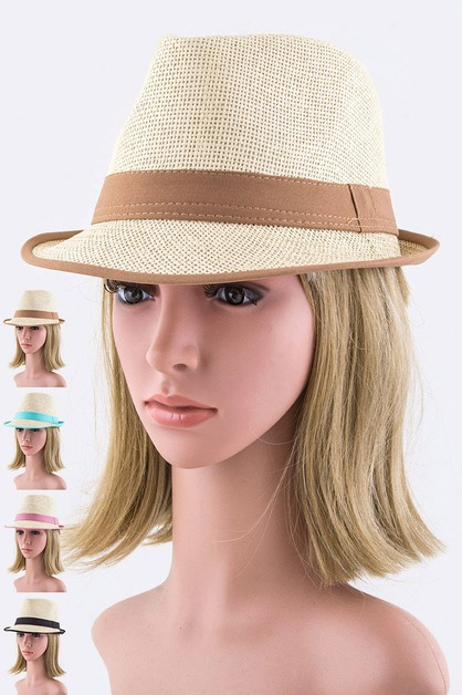 Color Band Brim Straw Fedora Hat - orangeshine.com
